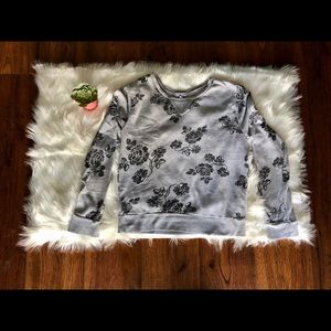 GRAY & BLACK COTTON ON FLORAL TOP